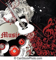 Music party flyer or banner with notes treble cleaf guitar...