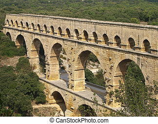 Pont du Gard - high angle view of the Pont du Gard aqueduct...