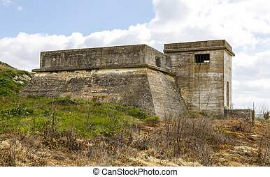 Bunker of concrete in Mota del Marques, Spain - Bunker of...