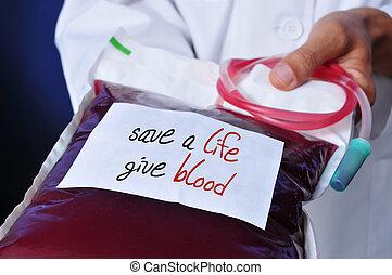 doctor, con, Un, sangre, bolsa, con, el, texto, seguro, Un,...