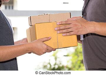 mujer,  Deliveryman, entrega, Cajas, aceptando, mano