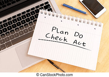 Plan Do Check Act - handwritten text in a notebook on a desk...