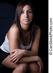 Fashion model - Sitting - Twenty something fashion model...