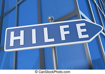 Hilfe - german word for help - illustration with street sign...