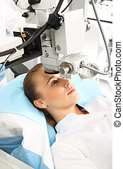 Operation of sight - A patient in the operating room during...