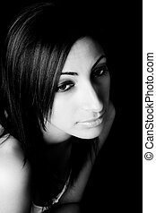Close up portrait - black and white close up portrait of a...
