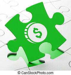Banking concept: Dollar Coin on puzzle background