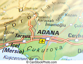 Map of Adana, Turkey.