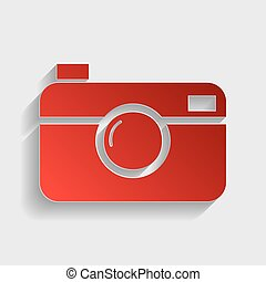 Digital photo camera sign. Red paper style icon with shadow...