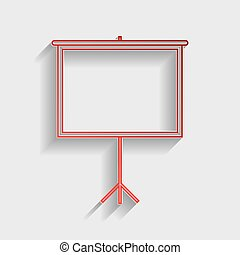 Blank Projection screen. Red paper style icon with shadow on...
