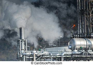 heavy industrial fog from exhaust tube in petrochemical and...