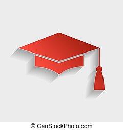 Mortar Board or Graduation Cap, Education symbol. Red paper...