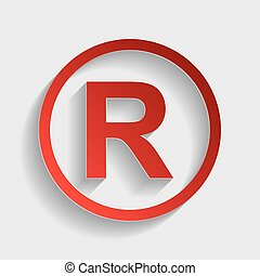Registered Trademark sign. Red paper style icon with shadow...