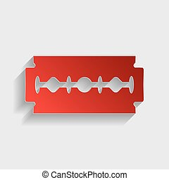 Razor blade sign Red paper style icon with shadow on gray
