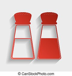 Salt and pepper sign. Red paper style icon with shadow on...