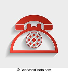 Retro telephone sign. Red paper style icon with shadow on...