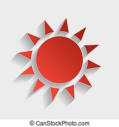 Sun sign illustration. Red paper style icon with shadow on...