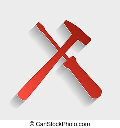 Tools sign illustration Red paper style icon with shadow on...