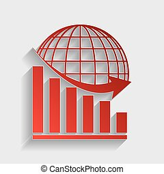 Declining graph with earth. Red paper style icon with shadow...