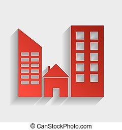 Real estate sign. Red paper style icon with shadow on gray.