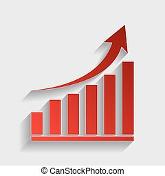 Growing graph sign. Red paper style icon with shadow on...