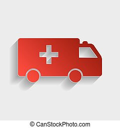 Ambulance sign illustration. Red paper style icon with...