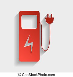 Electric car charging station sign. Red paper style icon...