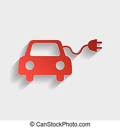 Eco electric car sign. Red paper style icon with shadow on...