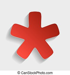 Asterisk star sign. Red paper style icon with shadow on...