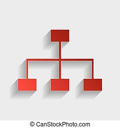 Site map sign. Red paper style icon with shadow on gray.