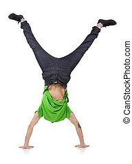 boy standing on hands - Young bboy standing on hands....
