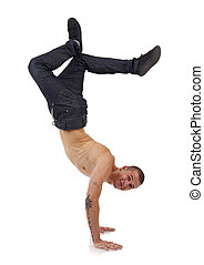 man standing on hands - Young bboy standing on hands....