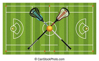 Regulation Lacrosse Field and Sticks - An aerial view of a...