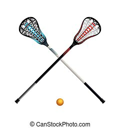 Isolated Lacrosse Sticks and Ball - A set of crossed...