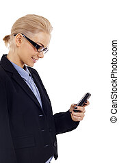 woman sending a text message - business woman sending a text...