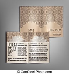 Vector beige brochure template design with vintage pattern.