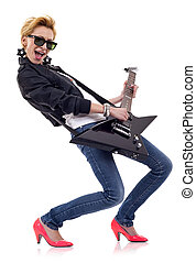 girl rock star - Rock star girl with sunglasses playing an...