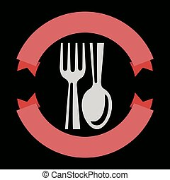 Vector food service logo - Food service logo with spoon and...