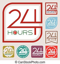 Service and support sign. 24 hours a day and 7 days a week...