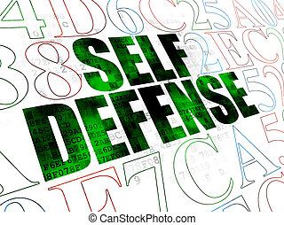 Privacy concept: Self Defense on Digital background -...
