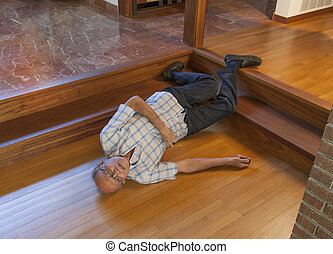 Senior man fell down the stairs - Senior man fell from the...