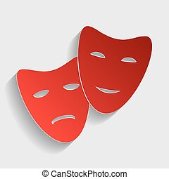 Theater icon with happy and sad masks Red paper style icon...