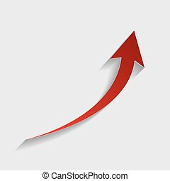 Growing arrow sign. Red paper style icon with shadow on...