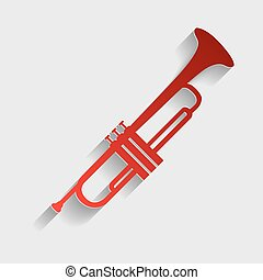 Musical instrument Trumpet sign Red paper style icon with...