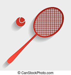 Tennis racquet sign. Red paper style icon with shadow on...