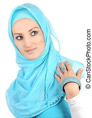 hermoso, niña, musulmán, Moda