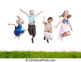 Happy acrobatic girl on meadow