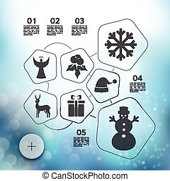 Christmas infographic with unfocused background