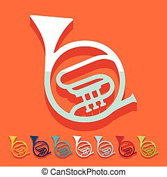 Flat design: french horn