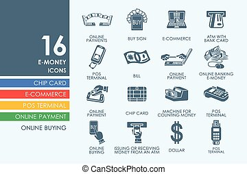 Set of e-money icons - e-money vector set of modern simple...